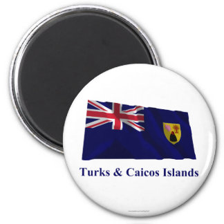 Turks & Caicos Islands Waving Flag with Name Magnet