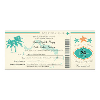 Turks & Caicos Save the Date Boarding Pass Personalized Invitations