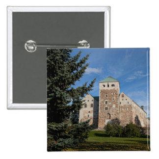 Turku, Finland, ancient Turun Linna Castle, a 2 Inch Square Button