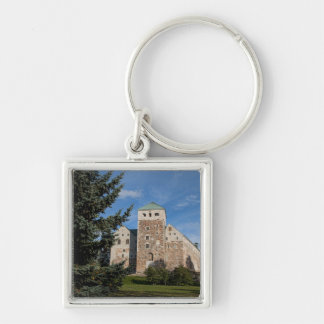Turku, Finland, ancient Turun Linna Castle, a Silver-Colored Square Keychain