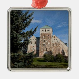 Turku, Finland, ancient Turun Linna Castle, a Square Metal Christmas Ornament