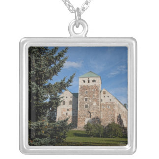 Turku, Finland, ancient Turun Linna Castle, a Square Pendant Necklace