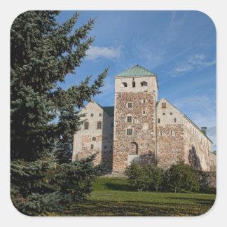 Turku, Finland, ancient Turun Linna Castle, a Square Sticker