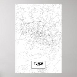 Turku, Finland (black on white) Poster