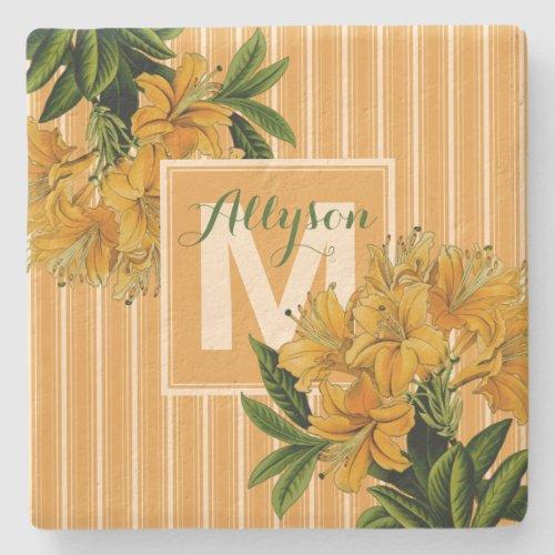 Turmeric Monogram Bridal Shower Wedding Floral Stone Coaster