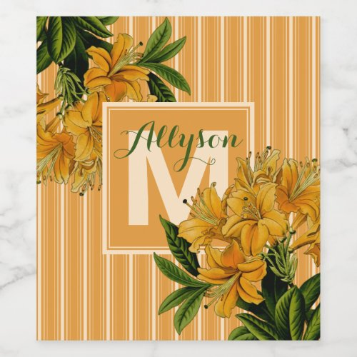 Turmeric Monogram Bridal Shower Wedding Floral Wine Label