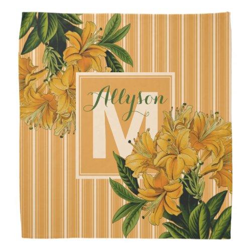 Turmeric Monogram Trendy Stripes Vintage Floral Bandana