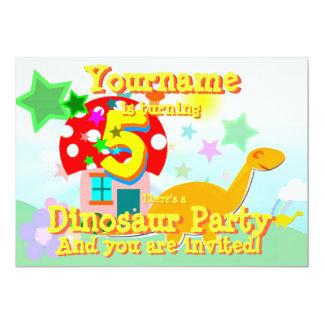 Turn 5 Cartoon Dinosaur Birthday Party Invitations