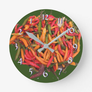 Turn Back the Time Backwards Clock-Chili Peppers Round Clock