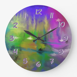 Turn Back the Time Backwards Clock-Faded Fireworks Large Clock