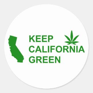Turn California Green With Pot Leaf Classic Round Sticker