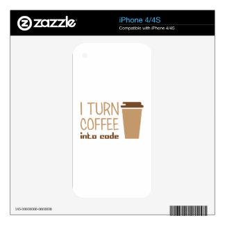 Turn Coffee Into Code iPhone 4S Decal