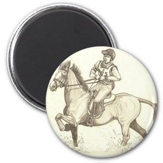 TURN IN THE WATER Eventing Horse Art 2 Inch Round Magnet