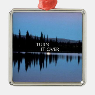 Turn It Over Square Metal Christmas Ornament