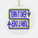 Turn it Over Double-Sided Ceramic Round Christmas Ornament