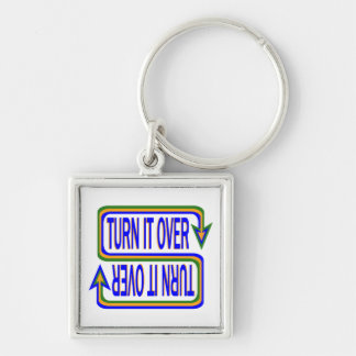 Turn it Over Silver-Colored Square Keychain