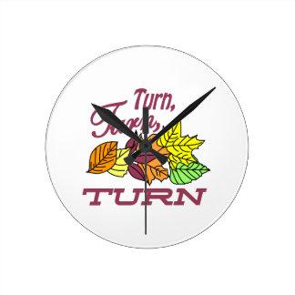 Turn Leaves Round Clock