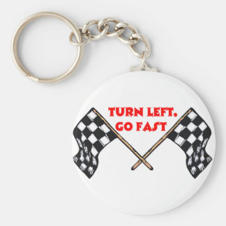Turn Left Go Fast Keychain
