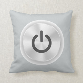 Turn Me On Grey Funny Button Throw Pillow