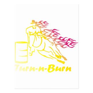 Turn-n-Burn Barrel Racing Horse Postcard