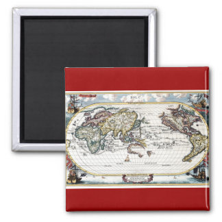 Turn of the 18th century world map 2 inch square magnet