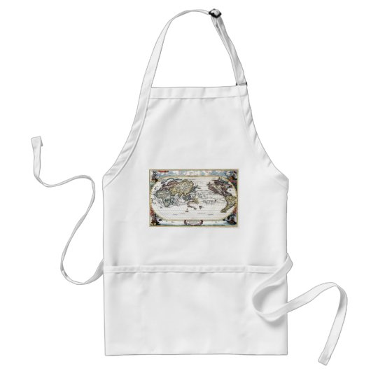 Turn of the 18th century world map adult apron