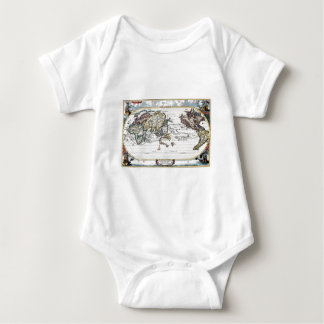 Turn of the 18th century world map baby bodysuit