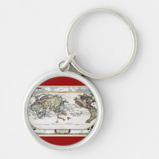 Turn of the 18th century world map keychain