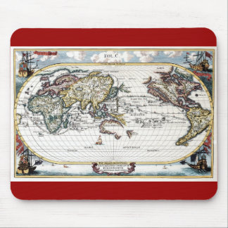 Turn of the 18th century world map mouse pad