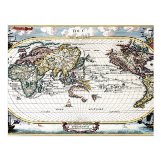 Turn of the 18th century world map postcard
