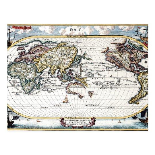 Turn of the 18th century world map postcard