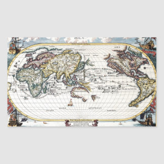 Turn of the 18th century world map rectangular sticker
