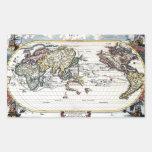 Turn of the 18th century world map rectangular stickers