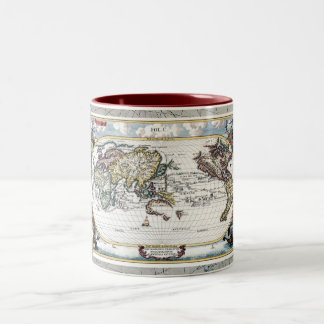 Turn of the 18th century world map Two-Tone coffee mug