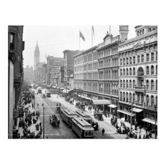Turn of the century street scene, Philadelphia, PA Postcard