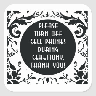 Turn off cell phones sign Wedding damask Square Sticker