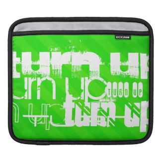 Turn Up; Neon Green Stripes iPad Sleeve