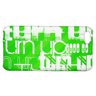 Turn Up; Neon Green Stripes iPhone 5C Cases