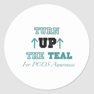 TURN UP THE TEAL (PCOS) CLASSIC ROUND STICKER