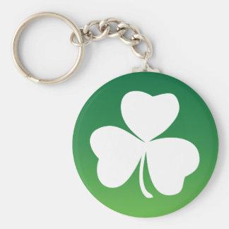 Turn your Irish ON! green white theme Basic Round Button Keychain
