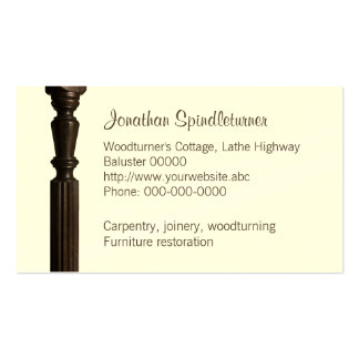Turned wooden spindle business card