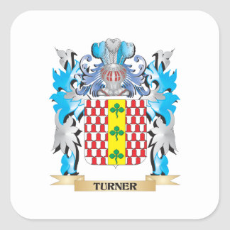 Turner Coat of Arms - Family Crest Square Sticker