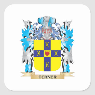 Turner- Coat of Arms - Family Crest Square Sticker