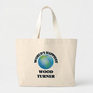 Turner de madera más feliz del mundo bolsa tela grande