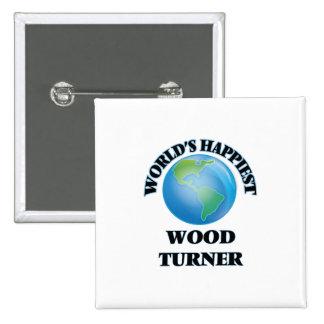 Turner de madera más feliz del mundo chapa cuadrada 5 cm