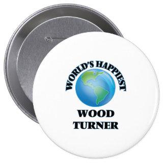 Turner de madera más feliz del mundo chapa redonda 10 cm