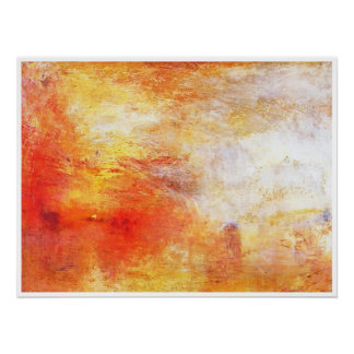 Turner Sun Setting Over A Lake Abstract Landscape Perfect Poster