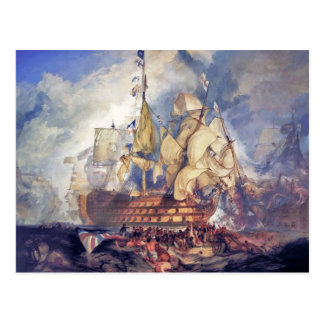 turner, the battle of trafalgar (1822) postcard