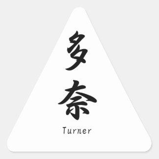 Turner tradujo a símbolos japoneses del kanji calcomanía de trianguladas