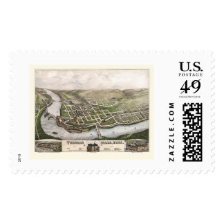 Turners Falls, MA Panoramic Map - 1877 Stamp